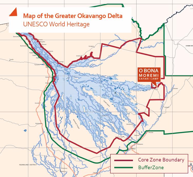 Map of the location of the O Bona Moremi Safari Lodge in Botswana