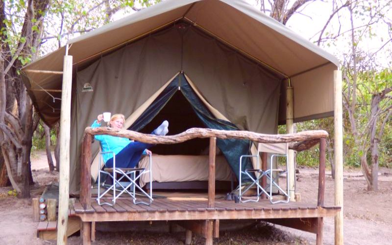 O Bona Moremi Safaria Camp Meru Zelt Aussenansicht
