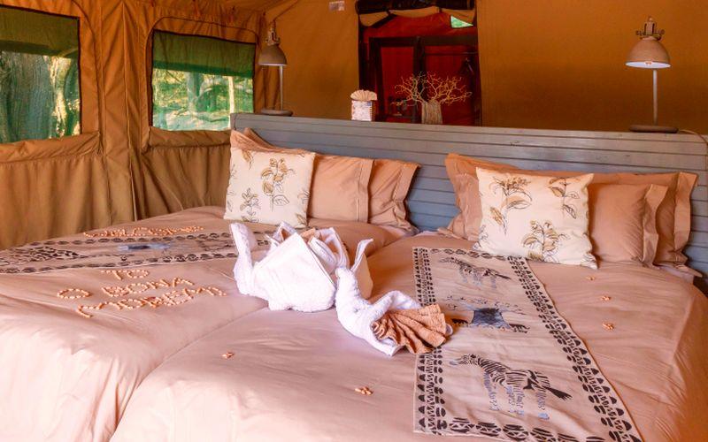 O Bona Moremi Zelt Zimmer Bett