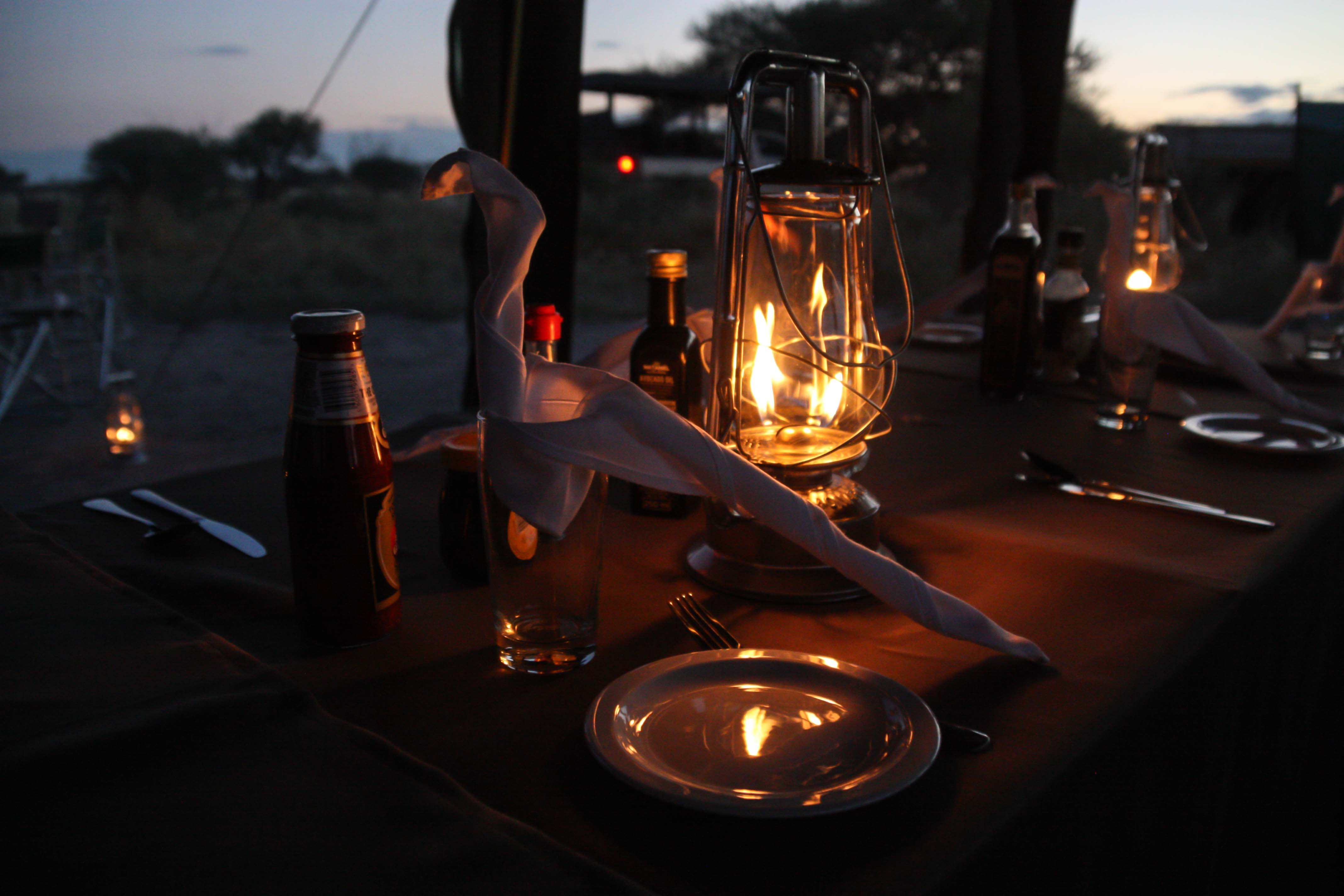 Set dining table on a mobile Safari in Botswana