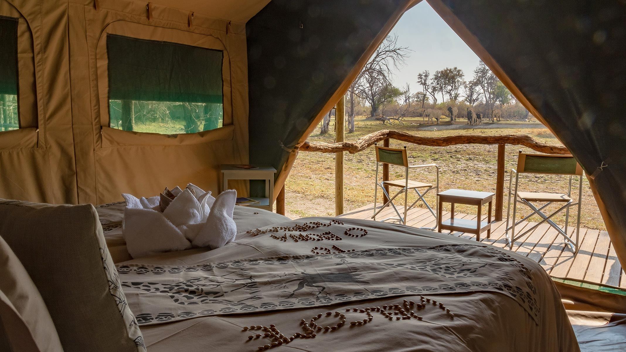 Bedroom with a stunning view out in the African Bush