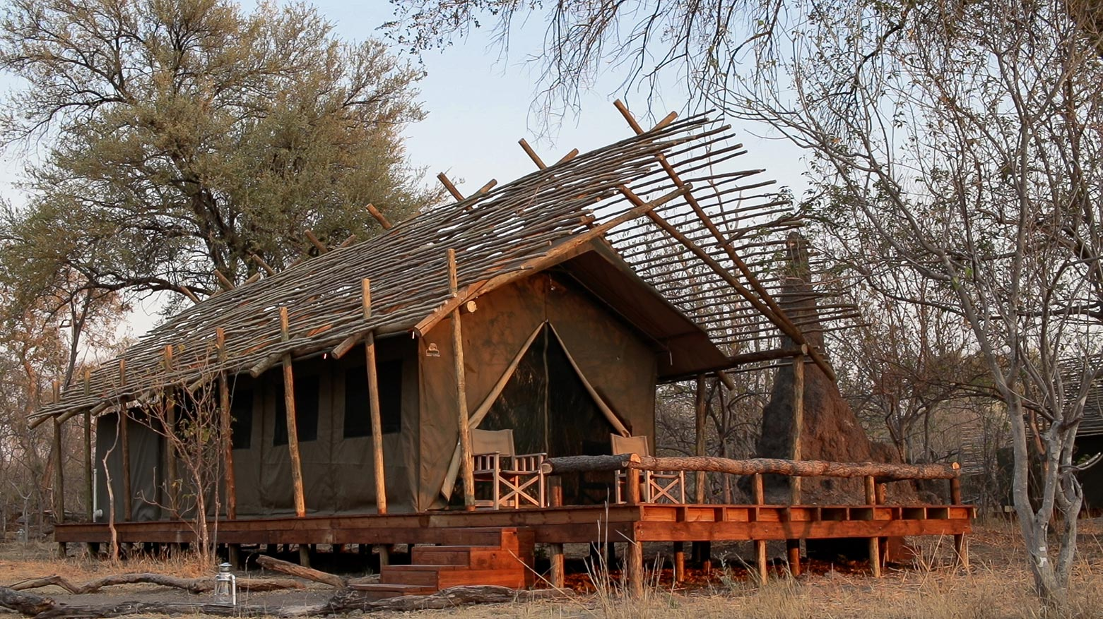 "A typical luxury Safari tent of the Okavango Delta Lodge ""O Bona Moremi"""